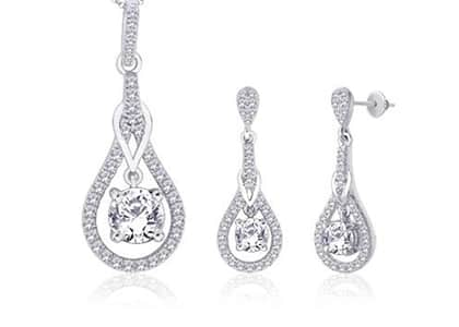 White Gold Plated | Micro Pave Pendant Sets